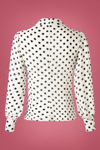 Unique Vintage 32274 Blouse Gwen Black White Polkadots 11182019 009W