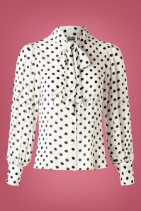 Unique Vintage 40s Gwen Dot Blouse in White and Black