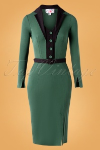 Miss Candyfloss Fayre Gia Suit Wiggle Pencil Dress Années 50 en Vert Èmeraude