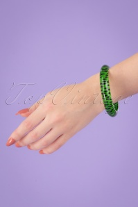 Splendette TopVintage Exclusive ~ Leopard Bangle Années 60 en Vert