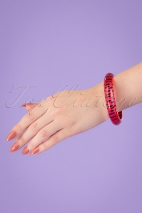 Splendette TopVintage Exclusive ~ Leopard Bangle Années 60 en Rouge