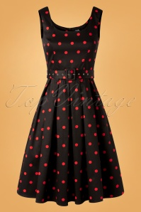 Dolly and Dotty Amanda Polkadot Swing Dress Années 40 en Noir et Rouge