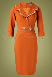 Daisy Dapper Emma Pencil Dress Années 50 en Orange Rouille