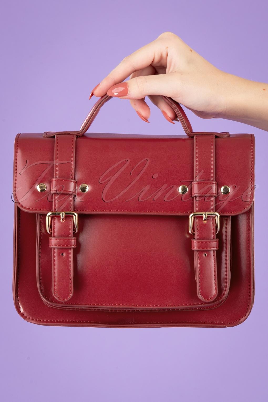 1940s Handbags and Purses History 50s Galatee Messenger Bag in Burgundy £44.12 AT vintagedancer.com