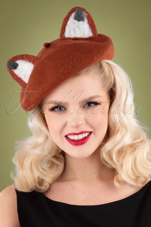 Collectif Clothing 30474 Foxy Beret Orange 191115 001 W