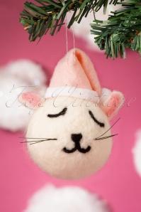 Sass&Belle 32674 Cat Hanging Felt White Pink Christmas 191119 007 W