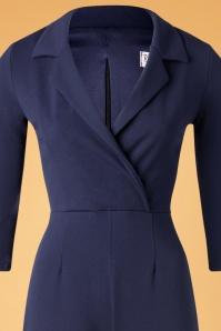 Vintage Chic 32486 Jumpsuit Navy Blue Plain 11202019 002V