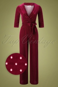 50s Merissa Pin Dot Velvet Jumpsuit in Wine