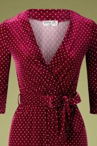 Vintage Chic 33208 Jumpsuit Velvet Wine Pindot 11202019 004V