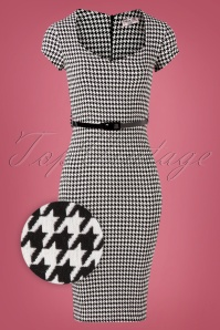 Vintage Chic for TopVintage Wanda Houndstooth Pencil Dress Années 50 en Noir et Blanc