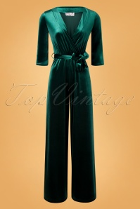 Vintage Chic 31535 Jumpsuit Velvet Bottle Green Tie 11202019 003W
