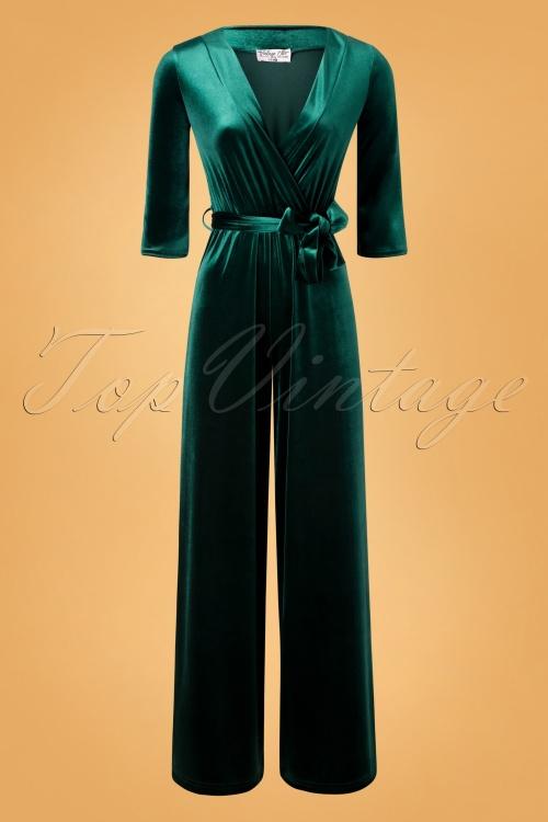 Vintage Chic 31535 Jumpsuit Velvet Bottle Green Tie 11202019 003W