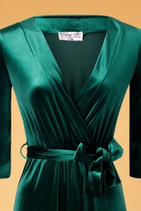 Vintage Chic 31535 Jumpsuit Velvet Bottle Green Tie 11202019 003V