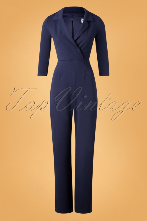 Vintage Chic 32486 Jumpsuit Navy Blue Plain 11202019 002W