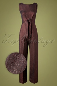 Closet London 70s Marty Jumpsuit in Bronze