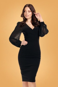 50s Arionna Pencil Dress in Black