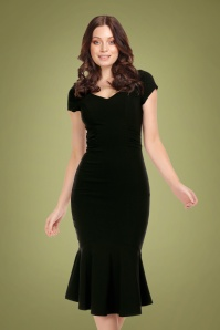 50s Jamilia Fishtail Pencil Dress in Black
