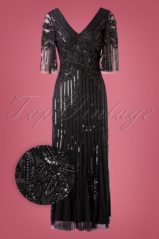 Vintage 1920s Dresses – Where to Buy 20s Norma Sequin Maxi Dress in Black £195.95 AT vintagedancer.com