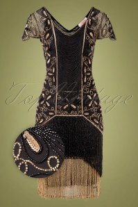 20s Edith Flapper Dress in Black