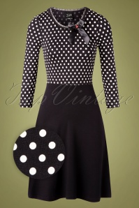 50s Fine Dotties Swing Dress in Black and White