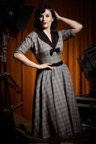 Miss Candyfloss 50s Maeby Lou Dolman Swing Dress in Grey and Black