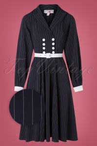 Miss Candyfloss 31043 Swingdress Navy Pinstripe 07172019 000005Z