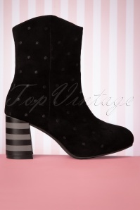 Lola Ramona 30276 boot Black Polkadot Striped Heels 191122 004