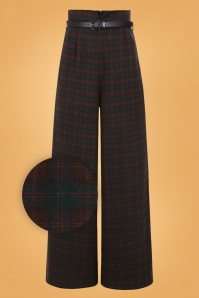 Collectif Clothing 40s Monet Woodland Trousers in Pine Check