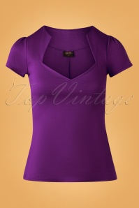 50s Sophia Top in Eggplant