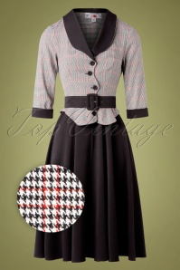 Miss Candyfloss 50s Ambre Houndstooth Swing Dress in Black and Red
