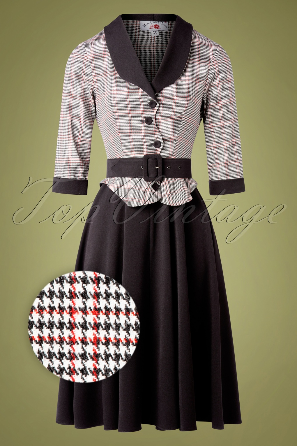 50s Dresses UK | 1950s Dresses, Shoes & Clothing Shops 50s Ambre Houndstooth Swing Dress in Black and Red £95.83 AT vintagedancer.com