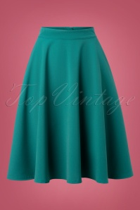 Steady Clothing 50s High Waist Thrills Swing Skirt in Jade