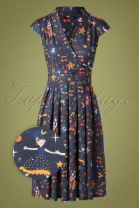 Lady V by Lady Vintage 50s Eva Lindy Hoppers Swing Dress in Navy