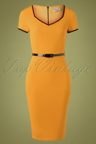 Wanda Pencil Dress Années 50 en Moutarde