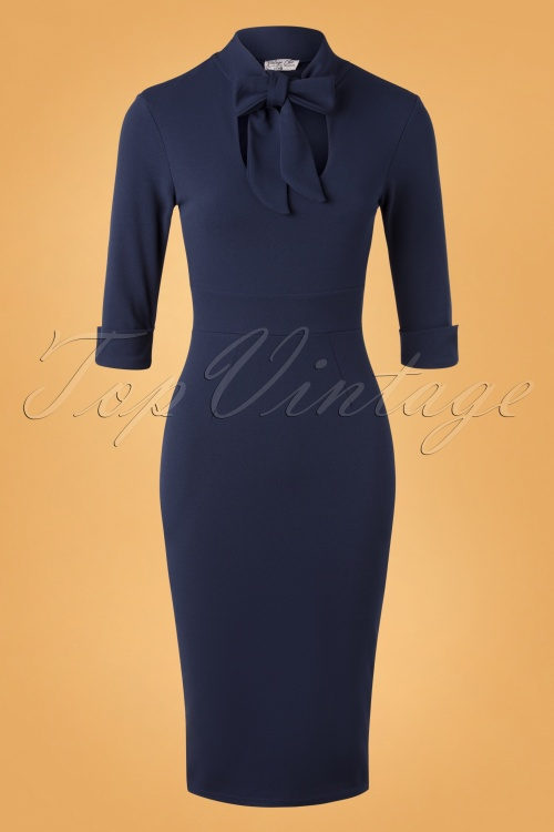 Vintage Chic 32952 Pencildress Navy Ribbon 11262019 005W