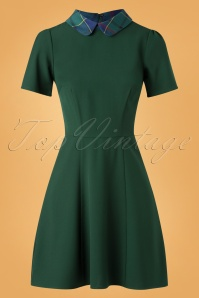 Bright and Beautiful 60s Celeste Check Dress in Green