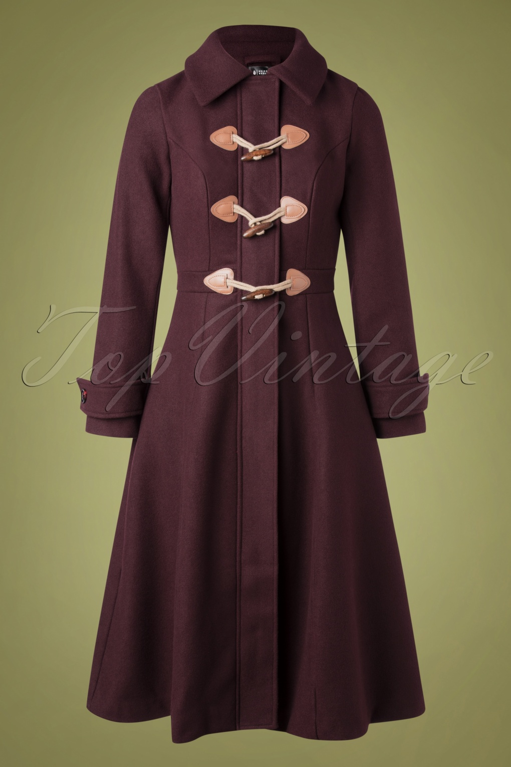 70s Outfits – 70s Style Ideas for Women 70s Lenny Plain Coat in Burgundy £135.63 AT vintagedancer.com