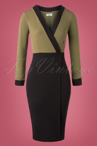 Vintage Chic 31158 Pencildress Olive Black Wrap 11262019 002W
