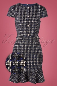 Little Mistress 50s Mini Boucle Pephem Pencil Dress in Navy