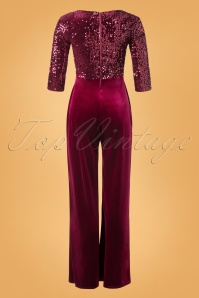 Vintage Chic 32322 Jumpsuit Red Velvet Wine 11262019 012W