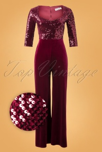 Vintage Chic for TopVintage 70s Sigourney Sequin Velvet Jumpsuit in Wine