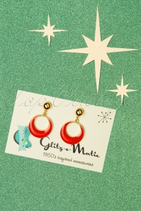 Glitz-o-Matic Teeny Tiny Hoop Earrings Années 50 en Rouge