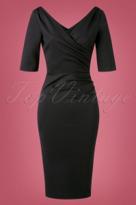 The House of Foxy Mansfield Scarlett Pencil Dress Années 50 en Noir