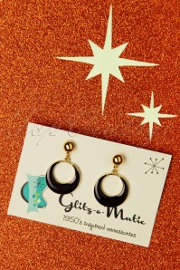 Glitz-o-Matic Teeny Tiny Hoop Earrings Années 50 en Noir