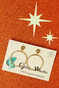 Glitz-o-Matic Hoop Earrings Années 50 en Doré
