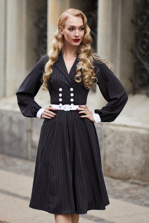 Miss Candyfloss 31043 Swingdress Navy Pinstripe 07172019 021L