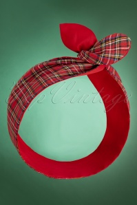 50s Tartan Hair Scarf in Red