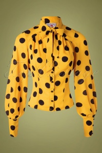 Miss Candyfloss 33214 Blouse Yellow Dots 11272019 013W