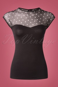 Steady Clothing Fancy Hearts Top Années 50 en Noir