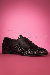 La Veintineuve 31498 Agnes Black Flats Glitter 191129 006 W